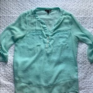 Express Sheer Turquoise Henley Blouse